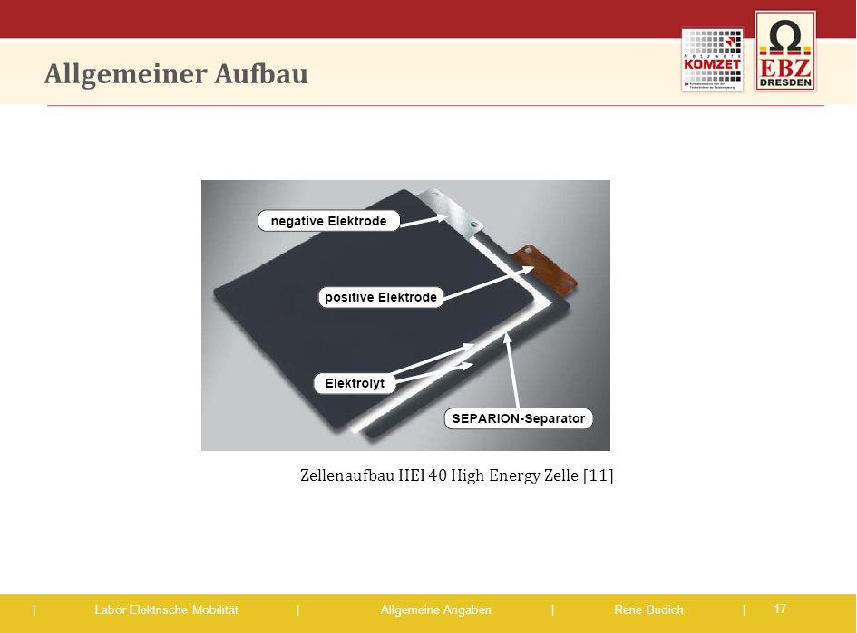 Allgemeiner Aufbau Zellenaufbau HEI 40 High Energy Zelle [11]